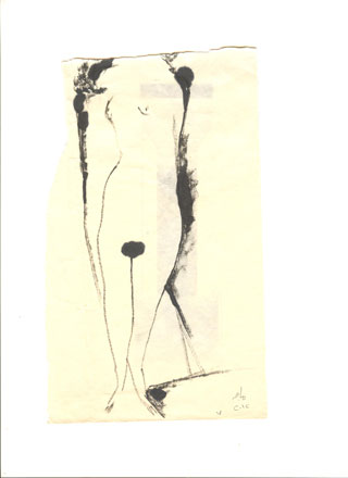 Woman, 2012, pen on transparent paper, 22 x 9 cm