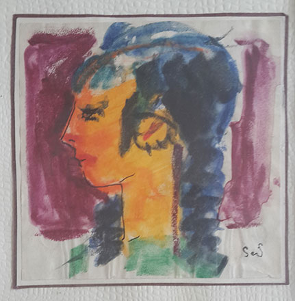 Seif Wanly, Woman, watercolor on paper, signed, 10 x 10 cm
