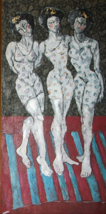 The Three White Girls, oil on wood, 120 x 60 cm