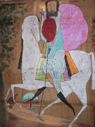 Saint George, 2012, mixed media on papyrus, 60 x 40 cm