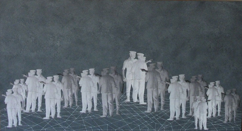 Crisis Points, 2012, mixed media on paper, 120 x 65 cm