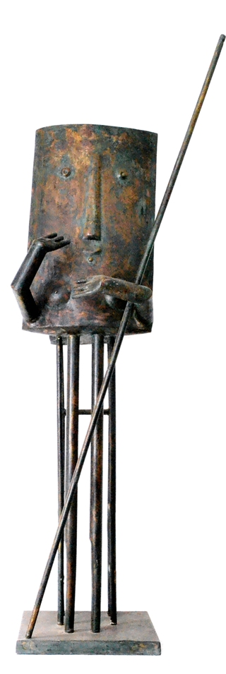 Sobhy Guirguis, The Protector, brass, 148 x 33 x 40 cm