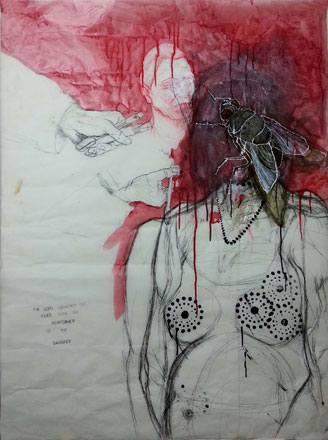 Performer Of The Sacrifice, 2013, pen glass color on transparent paper, 120 x 80 cm
