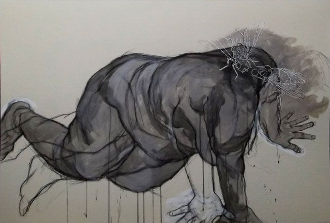 To Follow Without Halt, One Aim, 2013, pen, chinese ink and acrylic on hard paper, 80 x 120 cm