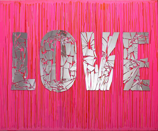 Love, 2013, mirrors mixed media on canvas, 150 x 180 cm