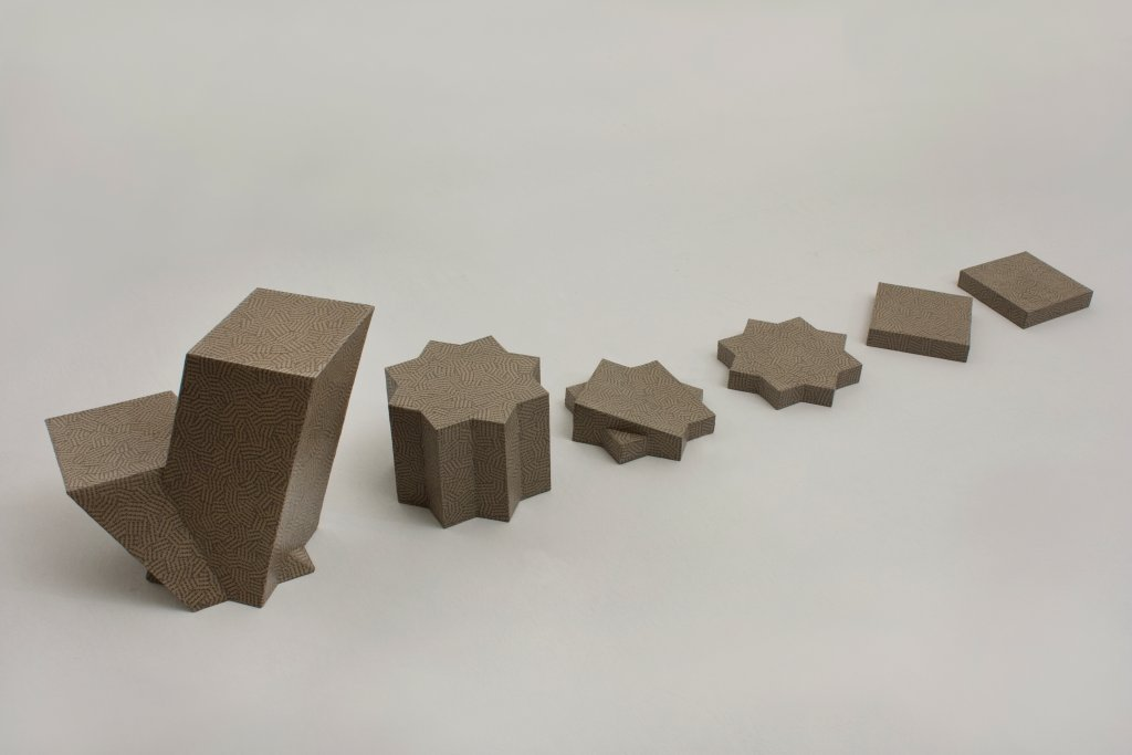 Overlapping Square #2, 2013  cardboard, printed recycling paper and glue 260 x 60 x h 40 cm
