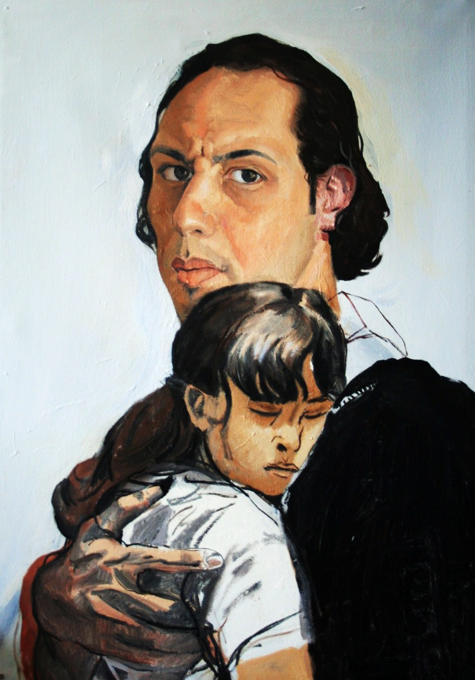 Father and Daughter, oil on canvas