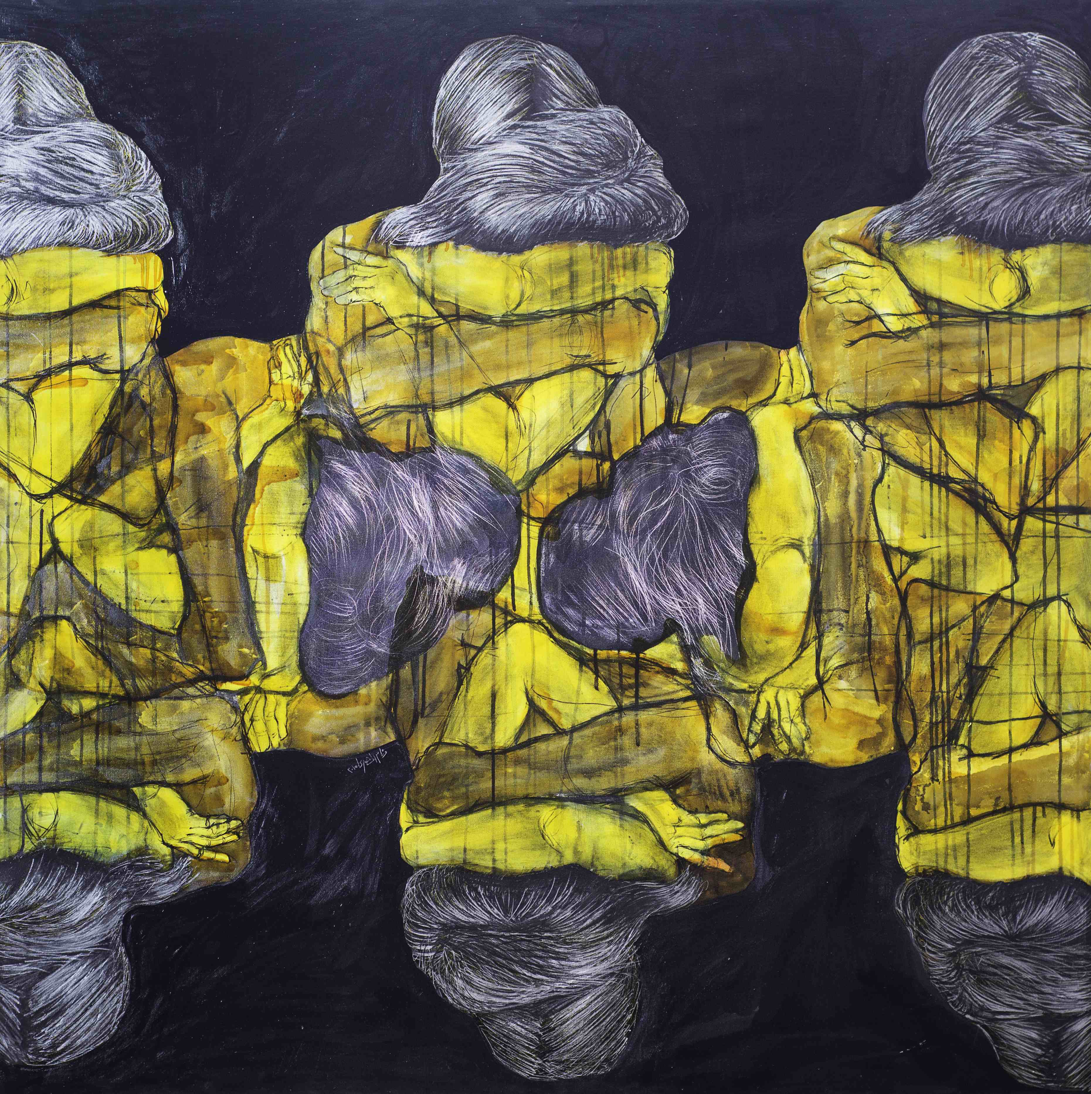 Weaam El Masry A Whole Harem, 2015 mixed media on canvas | 150 x 150 cm
