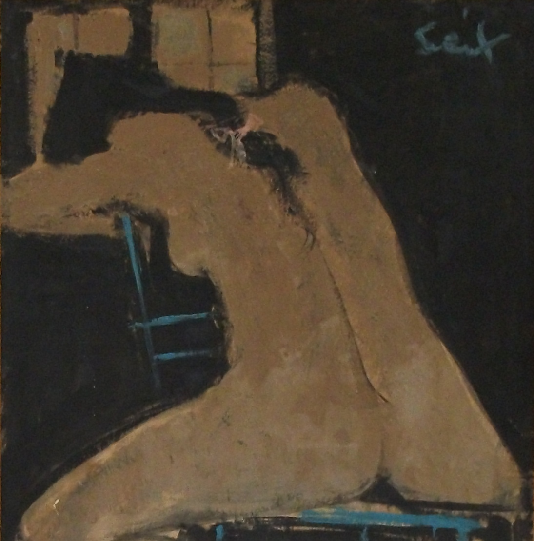 Nude, signed, 35 x 30 cm, oil on wood