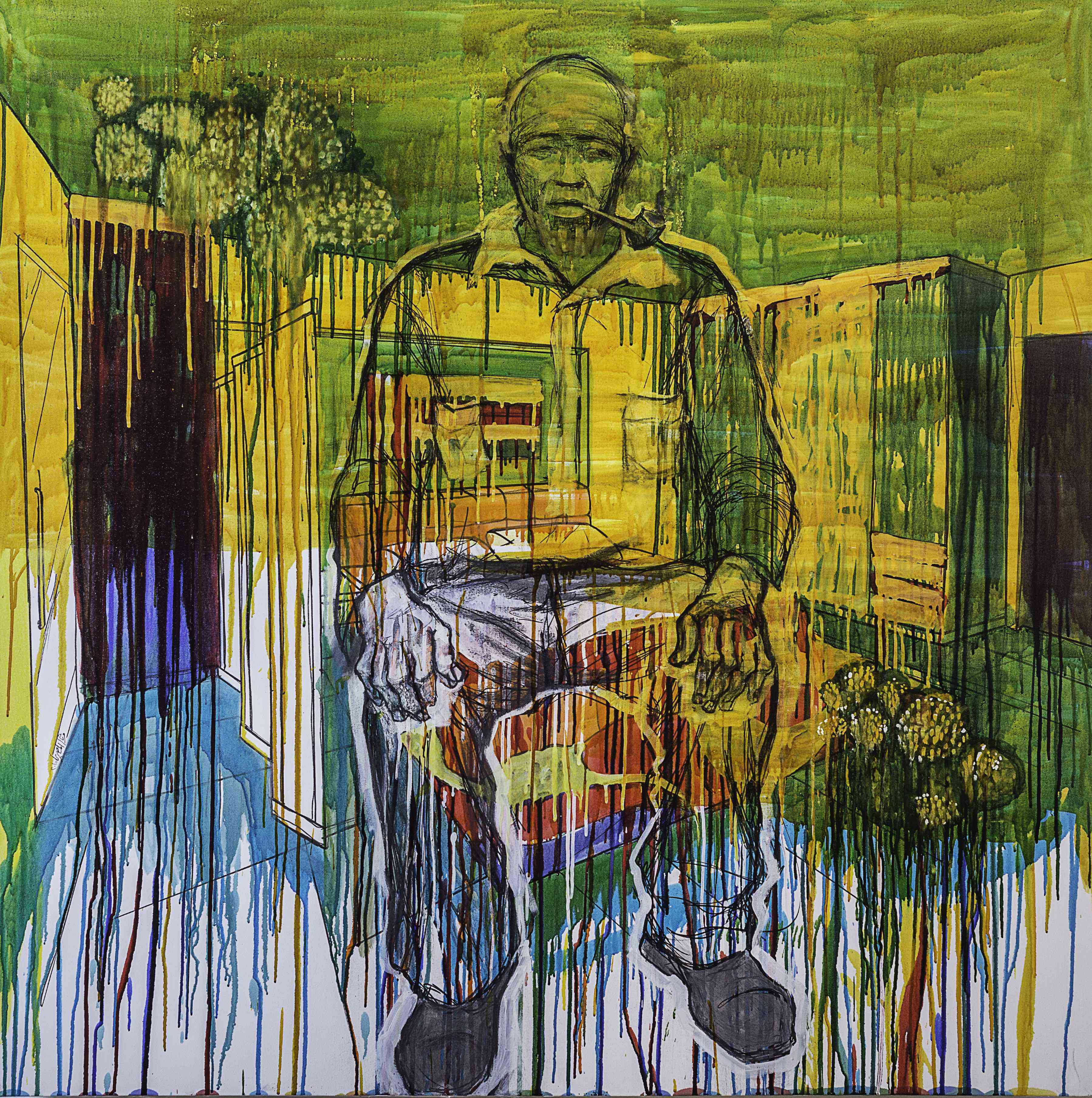 Weaam El Masry Spring-well of Sorrow, 2015 mixed media on canvas 150 x 150 cm