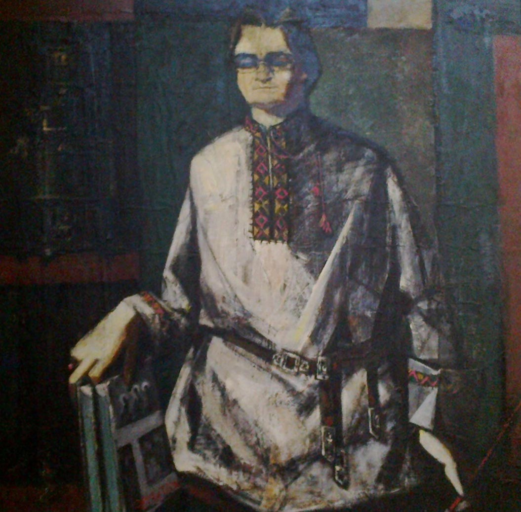 Seif Wanly, Self-portrait, signed, oil on wood, 120 x 120 cm