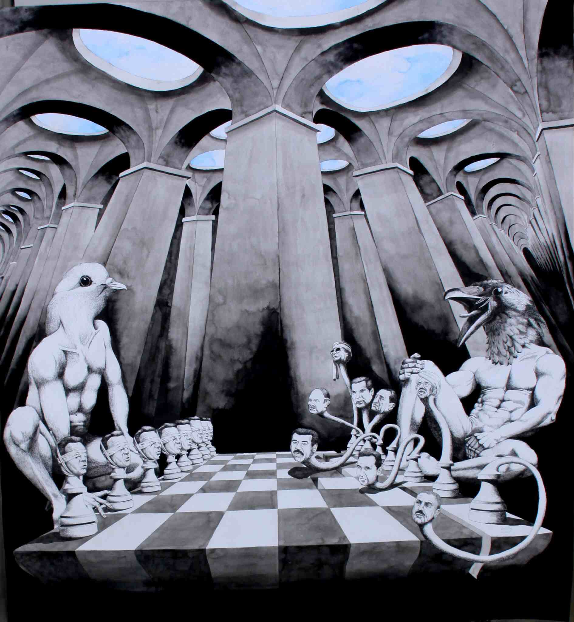 Arab Chess, 2015  Ink & gouache on paper 130 x 120 cm