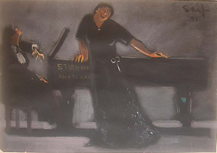 Singer and Pianist, work on paper, dated 1956, signed, authenticated