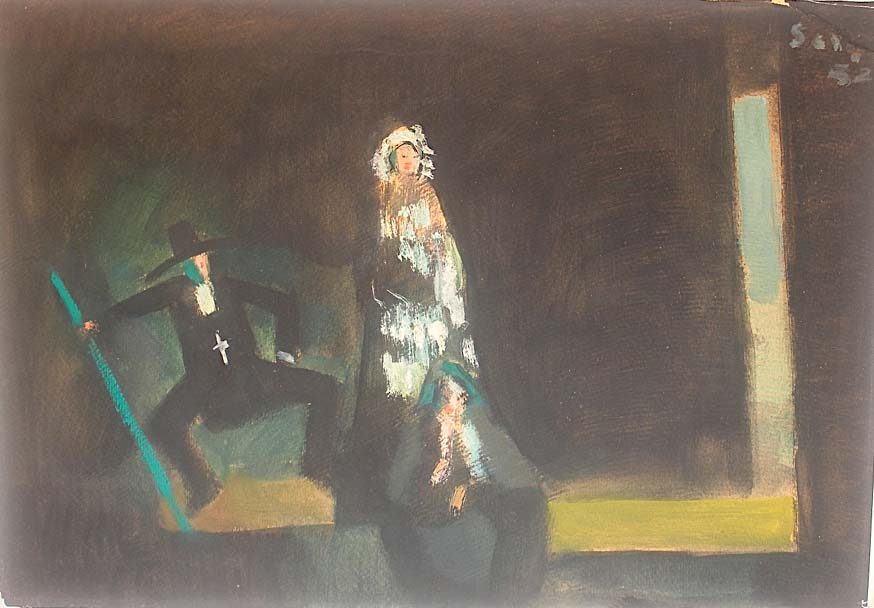 Seif Wanly, Untitled, work on paper, dated 1952, signed, authenticated