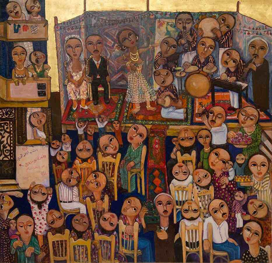 Wedding in the Street, 2015  Tempera, natural oxides, gold leaf on treated wood, 152 x 152 cm