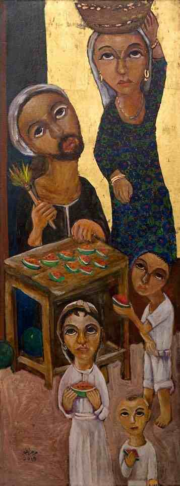 Watermelon Seller, 2015  Tempera, natural oxides, gold leaf on treated wood   97 x 36 cm