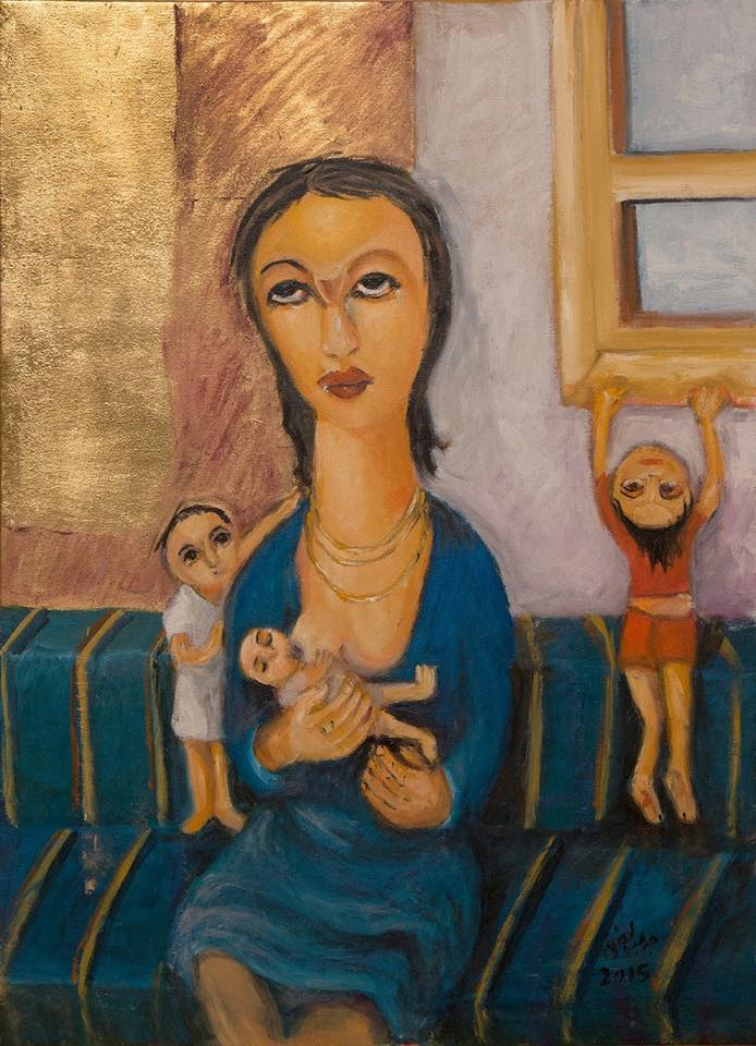 Mother and Children, 2015  Oil, gold leaf on canvas 70 x 50 cm