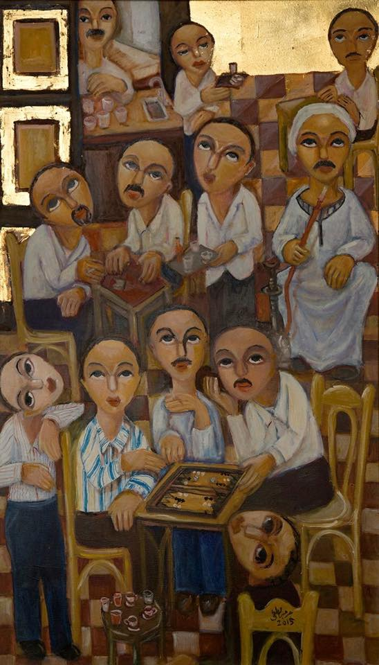 The Coffee Shop, 2015  Oil, gold leaf on canvas 120 x 70 cm
