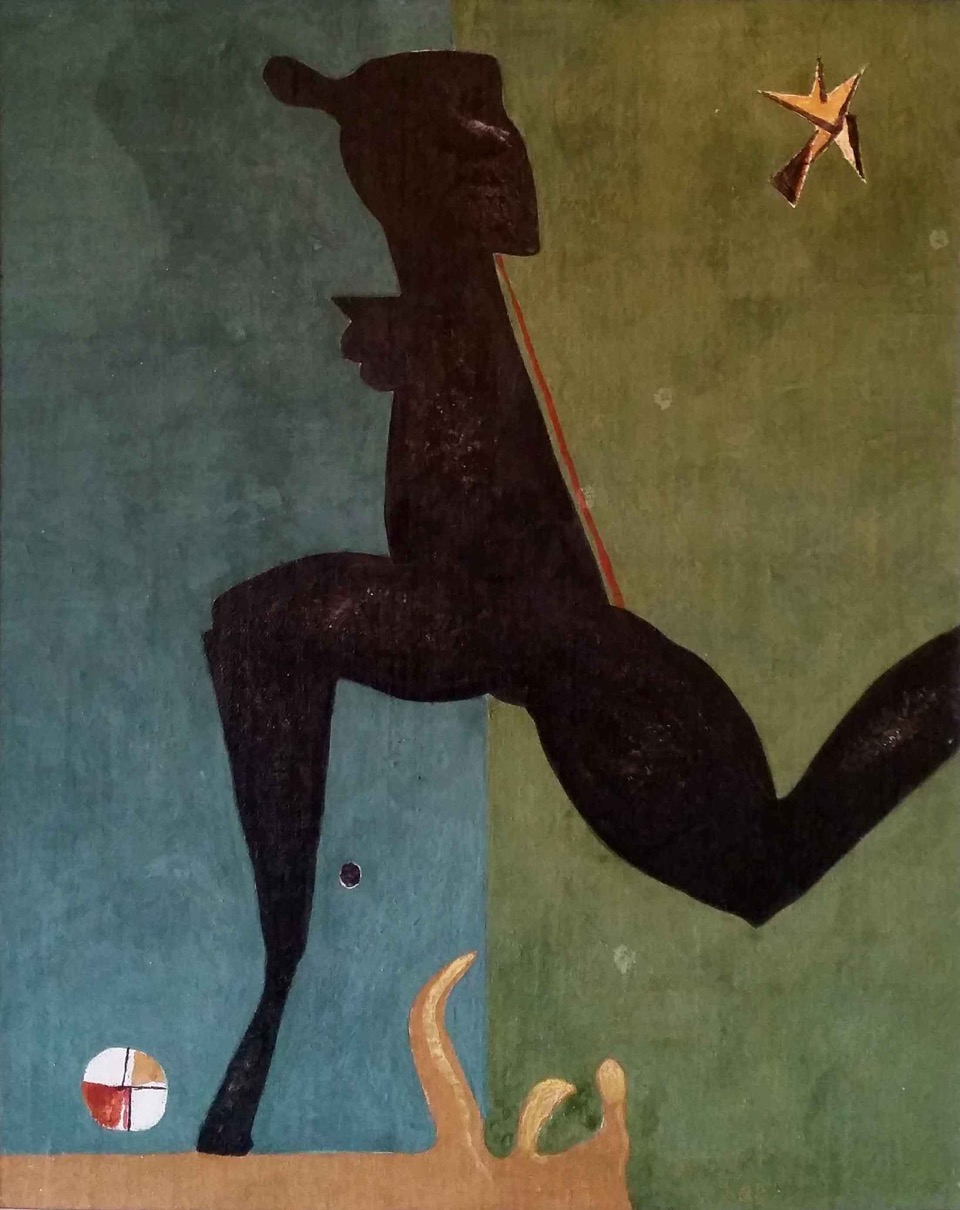 Brunette / Samraa / 2015, Harraniyya  Egg tempera on linen canvas on wood 65 x 52 cm