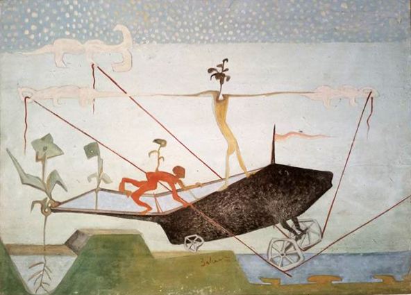 The Hunting Chase  / 2015, Harraniyya  Egg tempera on Japanese paper on wood 37 x 52 cm