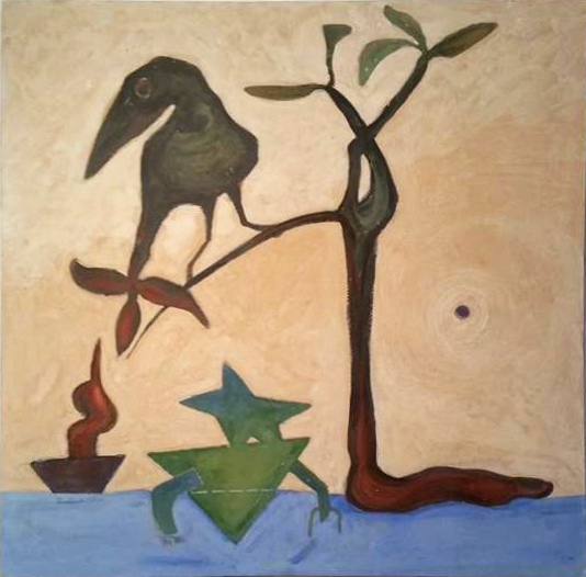 Bird of The South / 2015, Harraniyya  Egg tempera on wood  60 x 60 cm