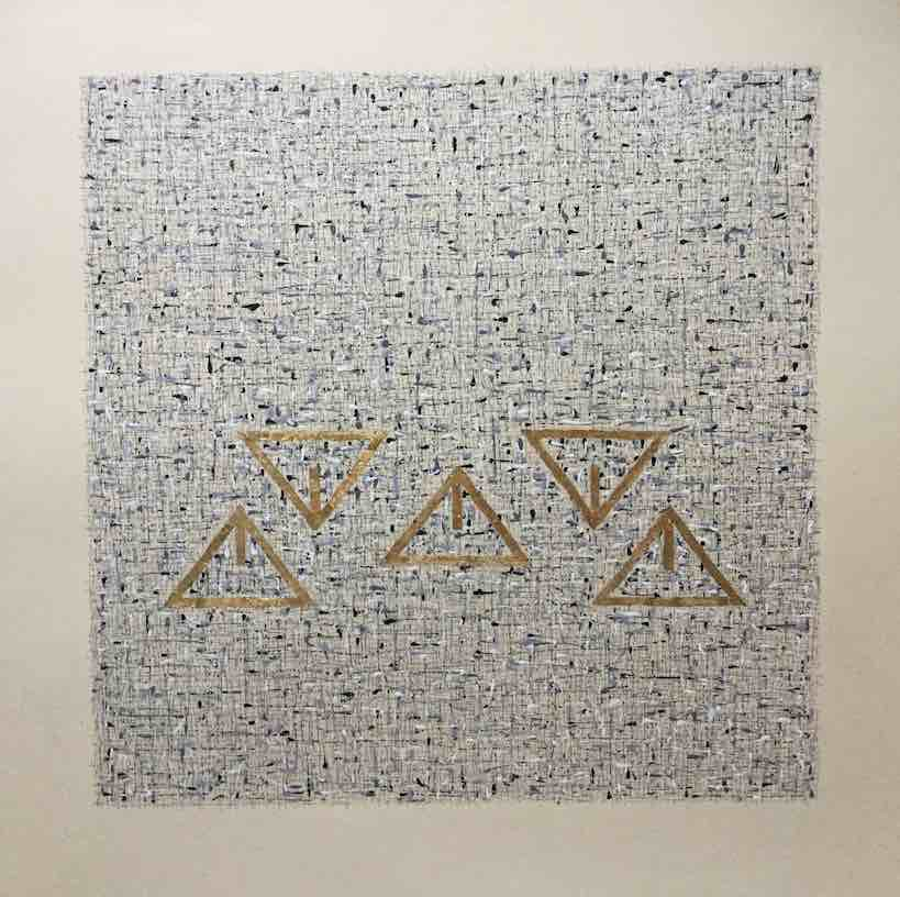 XXXX, 2017 Ink and gold leaf on paper  70 x 70 cm
