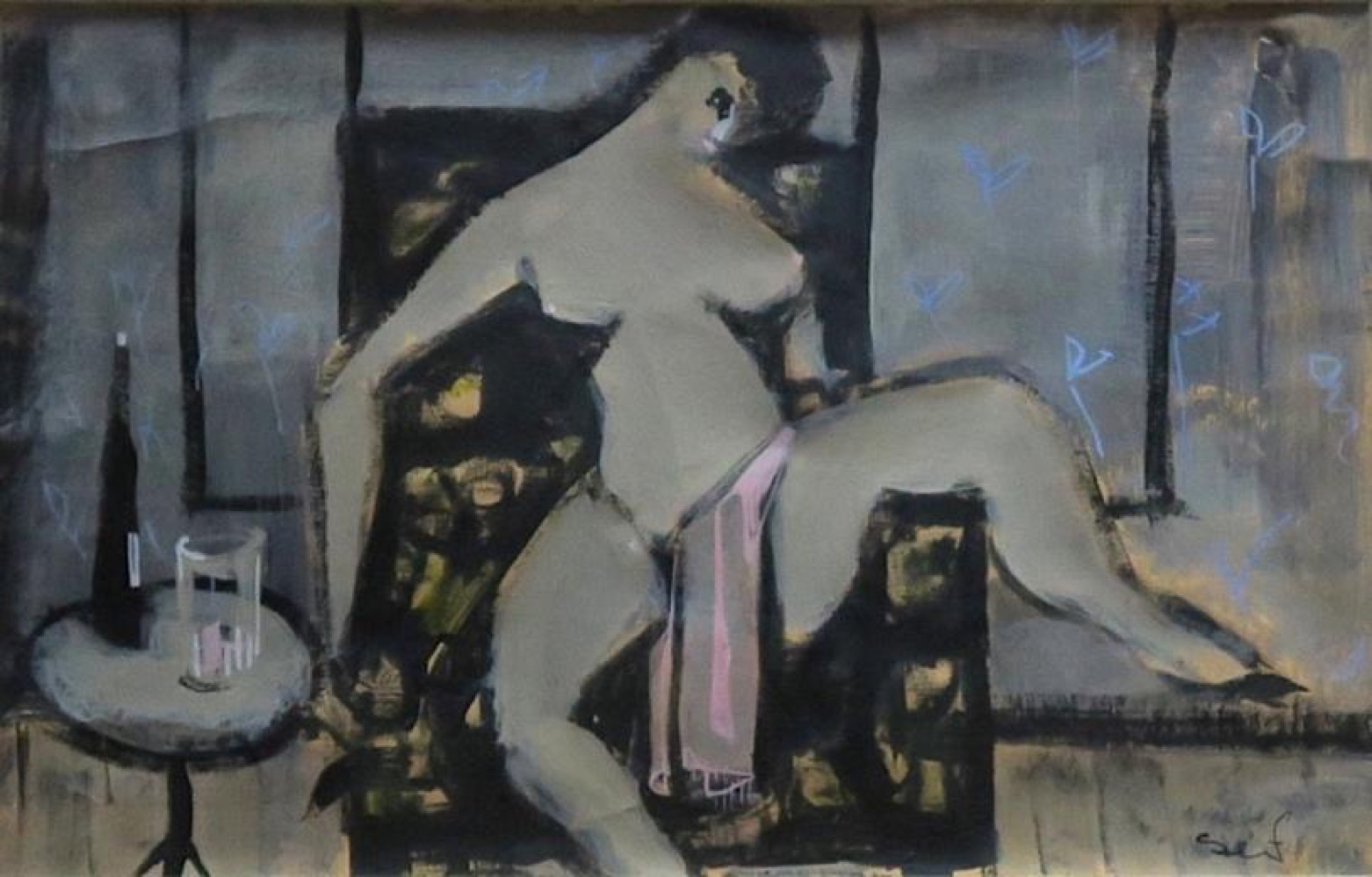 Seif Wanly (1906-1979) Reclining Nude Signed Oil on paper 20 x 33 cm