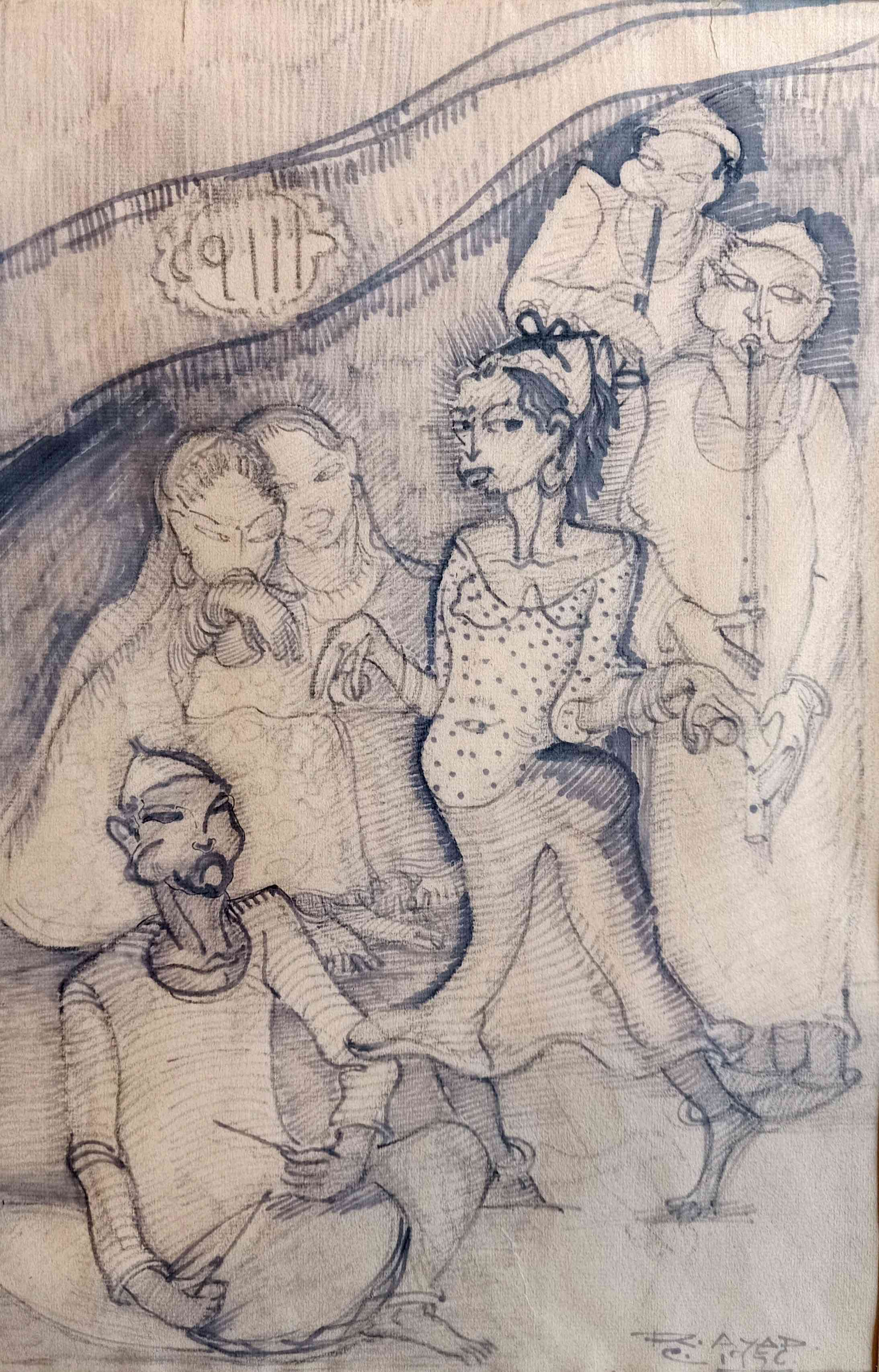 Ragheb Ayad Belly Dancer and Musicians, 1956. 50 x 33 cm Mixed media on paper Signed and dated bottom right
