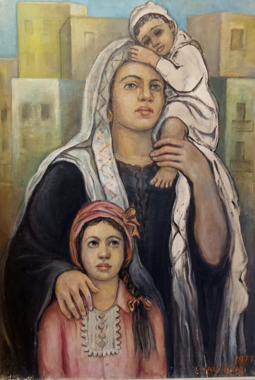 Emma Caly-Ayad, Motherhood, 1977. Oil on wood 76 x 52 cm Signed and dated bottom right.