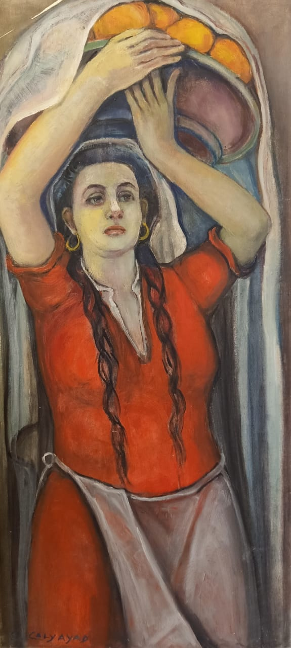 Emma Caly-Ayad, Woman Carrying Oranges Oil on wood 83 x 38 cm Signed bottom left.