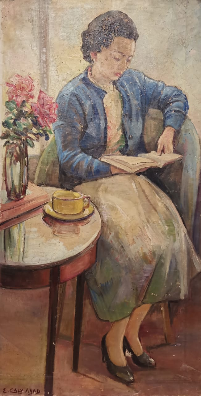 Emma Caly-Ayad, Woman Reading Oil on canvas 110  x 58 cm Signed bottom left.