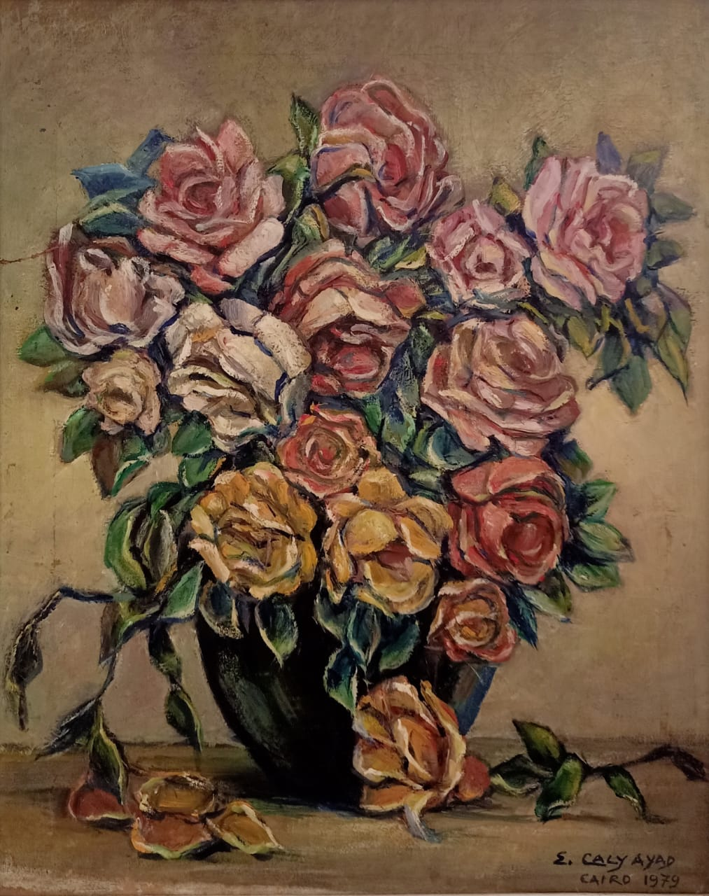 Emma Caly-Ayad, Vase de Fleurs 1979 Oil on canvas 55  x 43 cm Signed and dated bottom right.