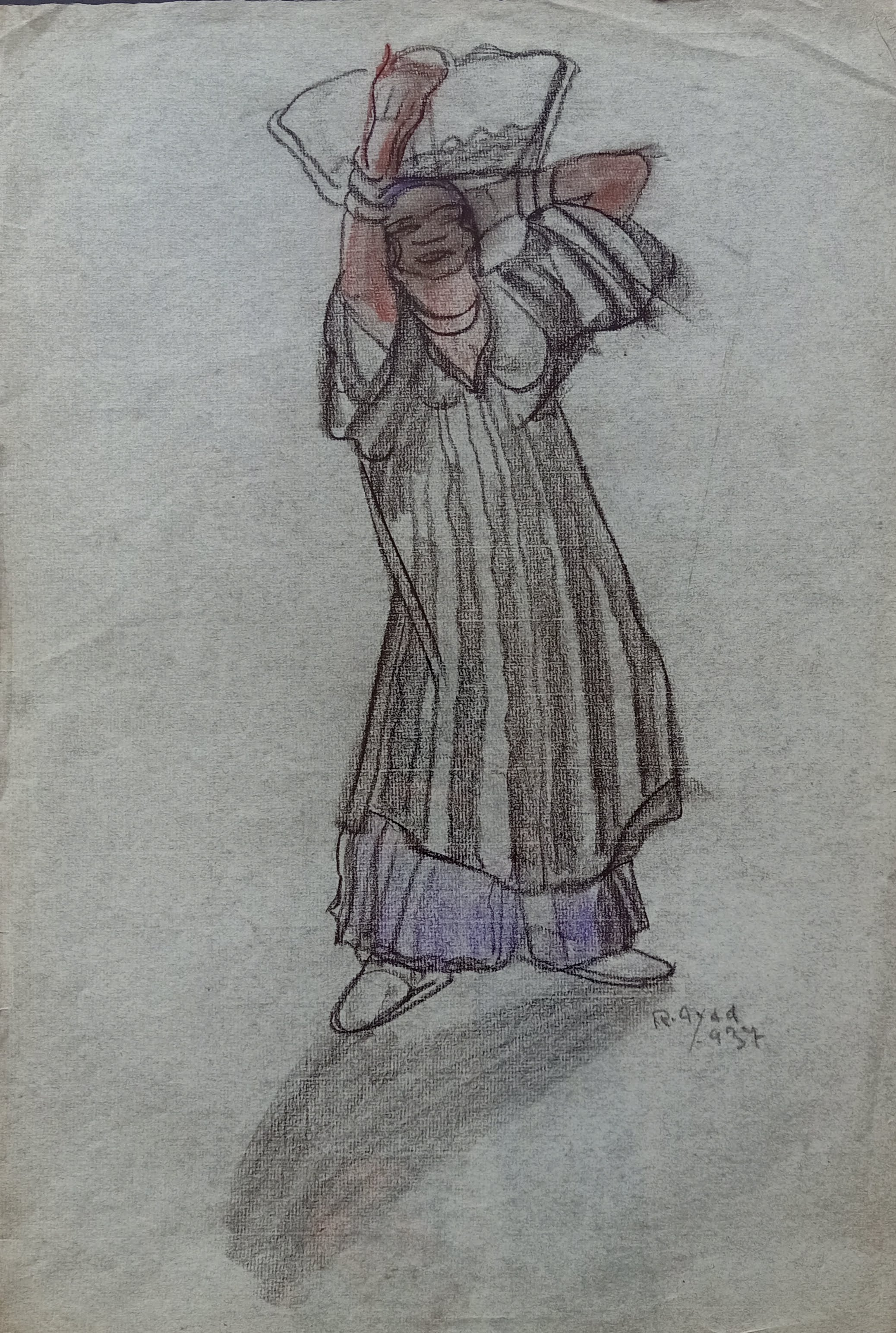 Ragheb Ayad, Woman carrying Uffa, 1937. Mixed media on paper 48×33 cm Signed and dated bottom right.
