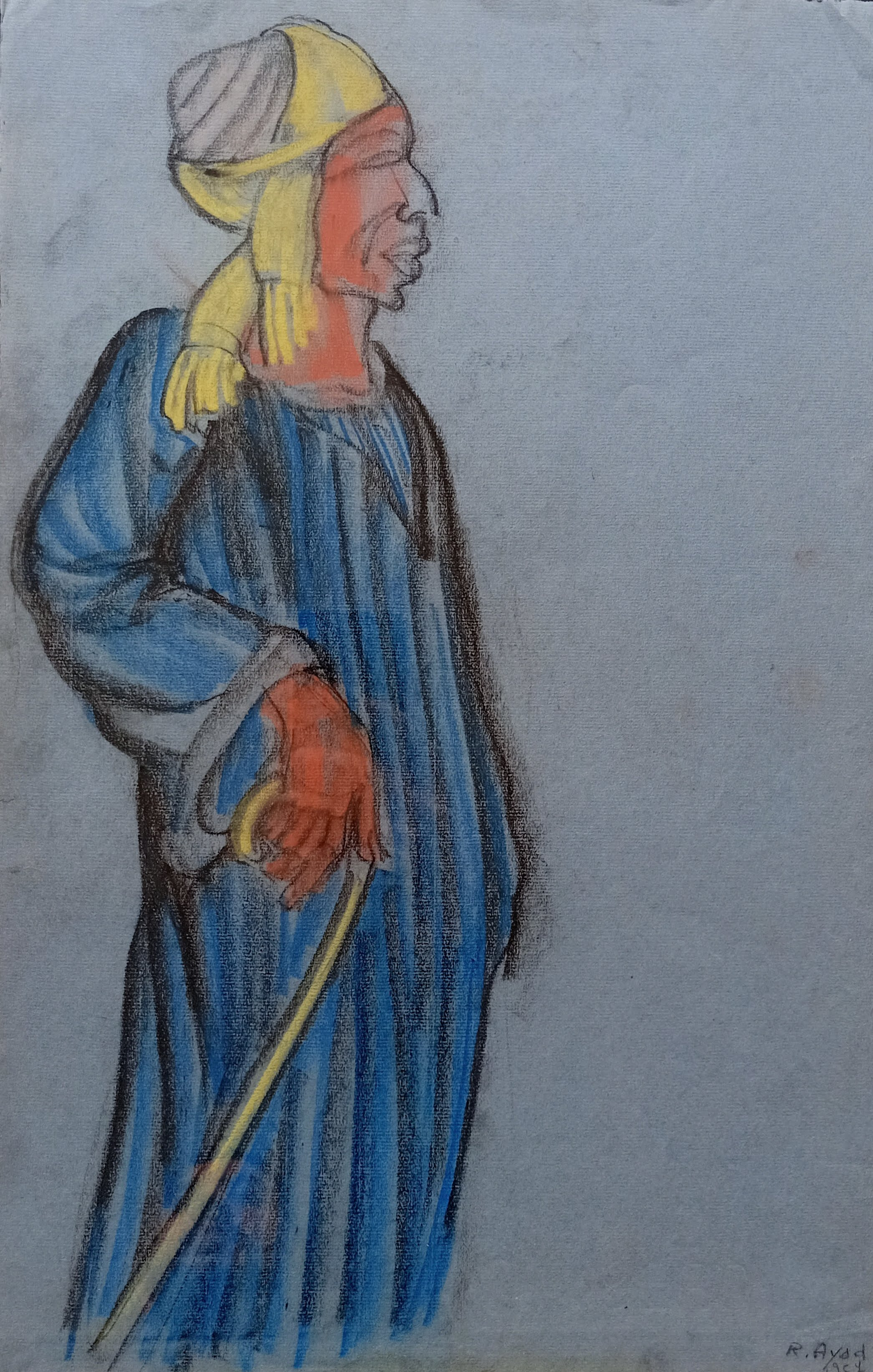 Ragheb Ayad, Standing Man with Stick, 1954. Mixed media on thick blue paper 48 x 30cm Signed and dated bottom right.