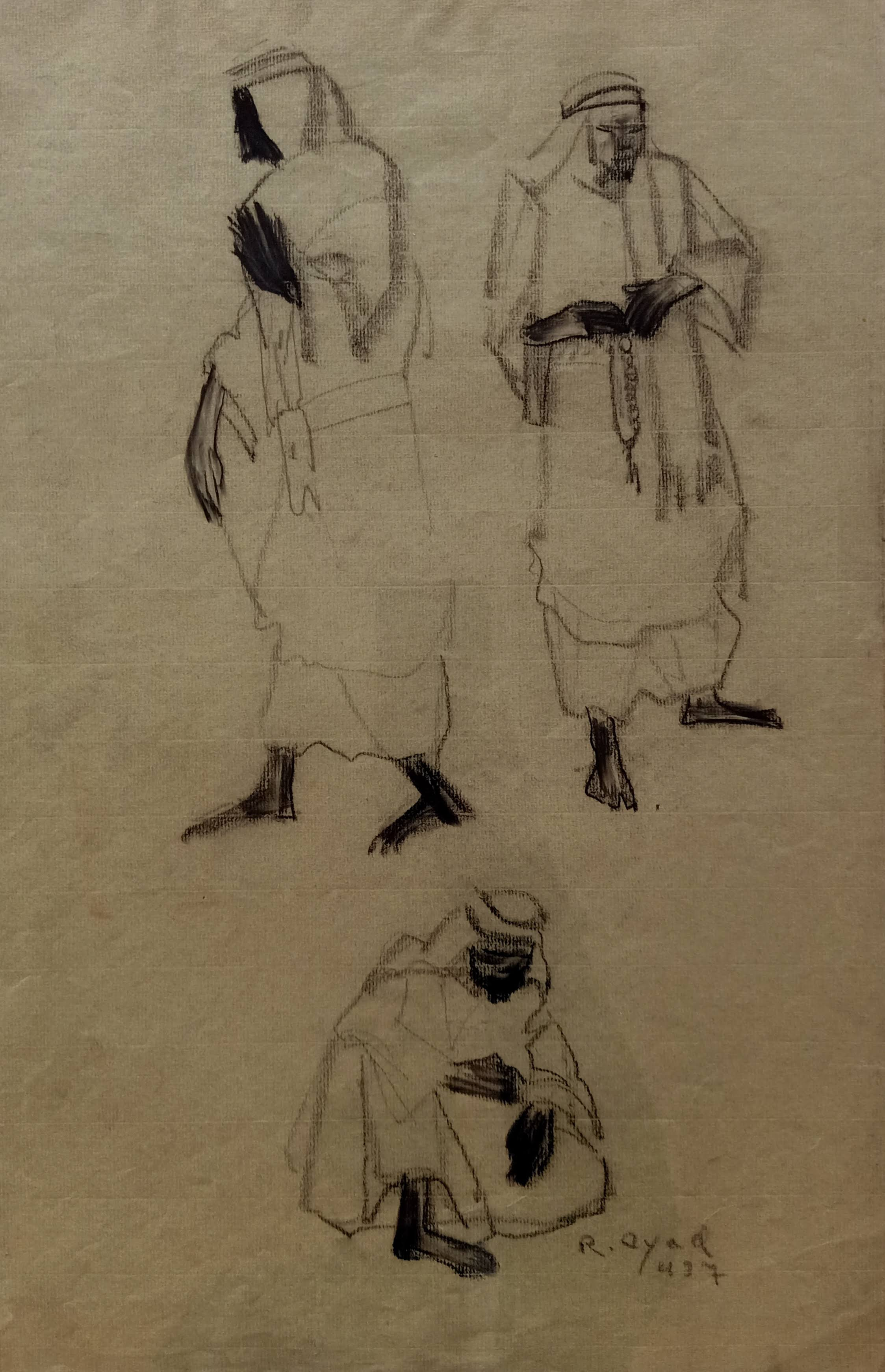 Ragheb Ayad, Three Bedouins, 1937. Mixed media on paper 48×33 cm Signed and dated bottom right