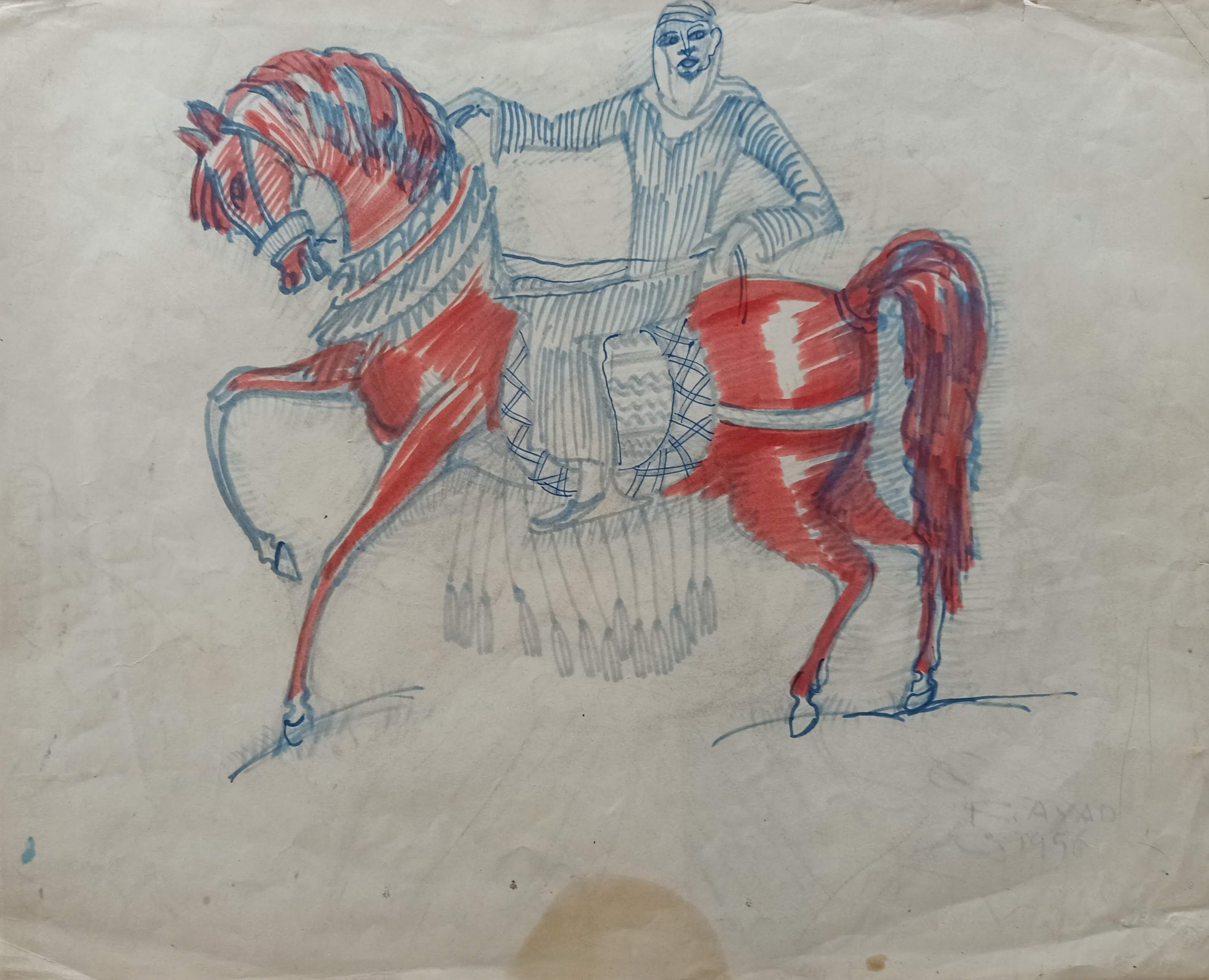 Ragheb Ayad, Dancing Horse II Mixed media on paper 35×32 cm Signed