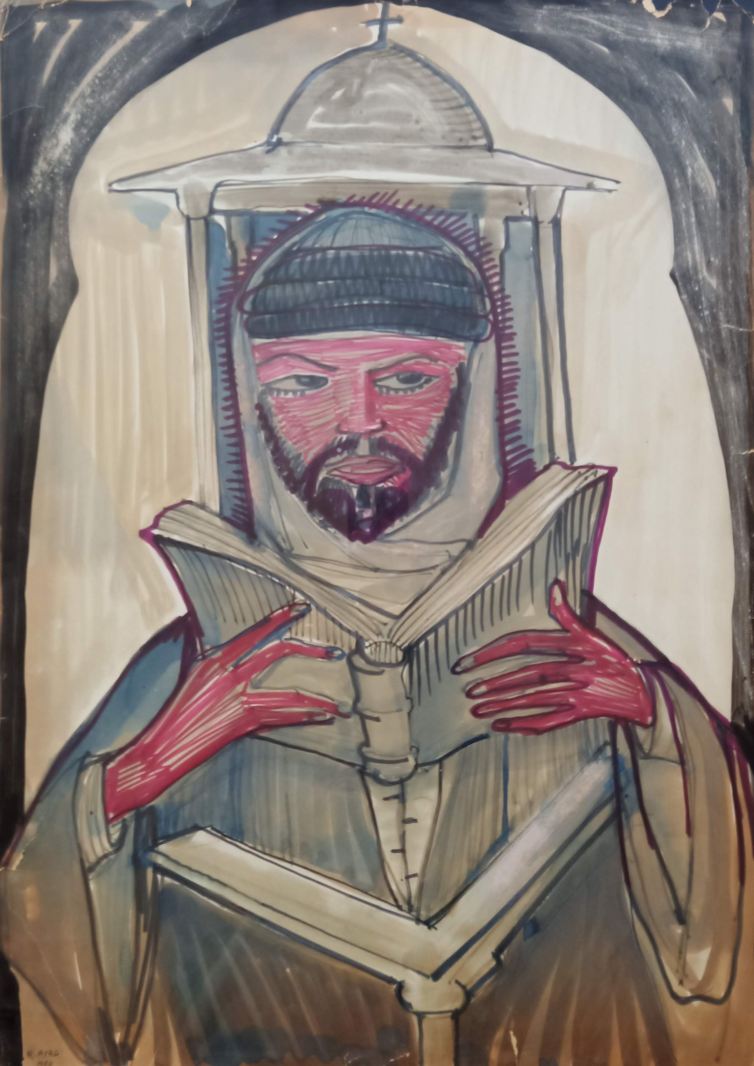 Ragheb Ayad, Le Moine Lisant l'Évangile  [Priest Reading the Gospel] 1960. Mixed media on carton 70 x 50 cm Signed and dated bottom left