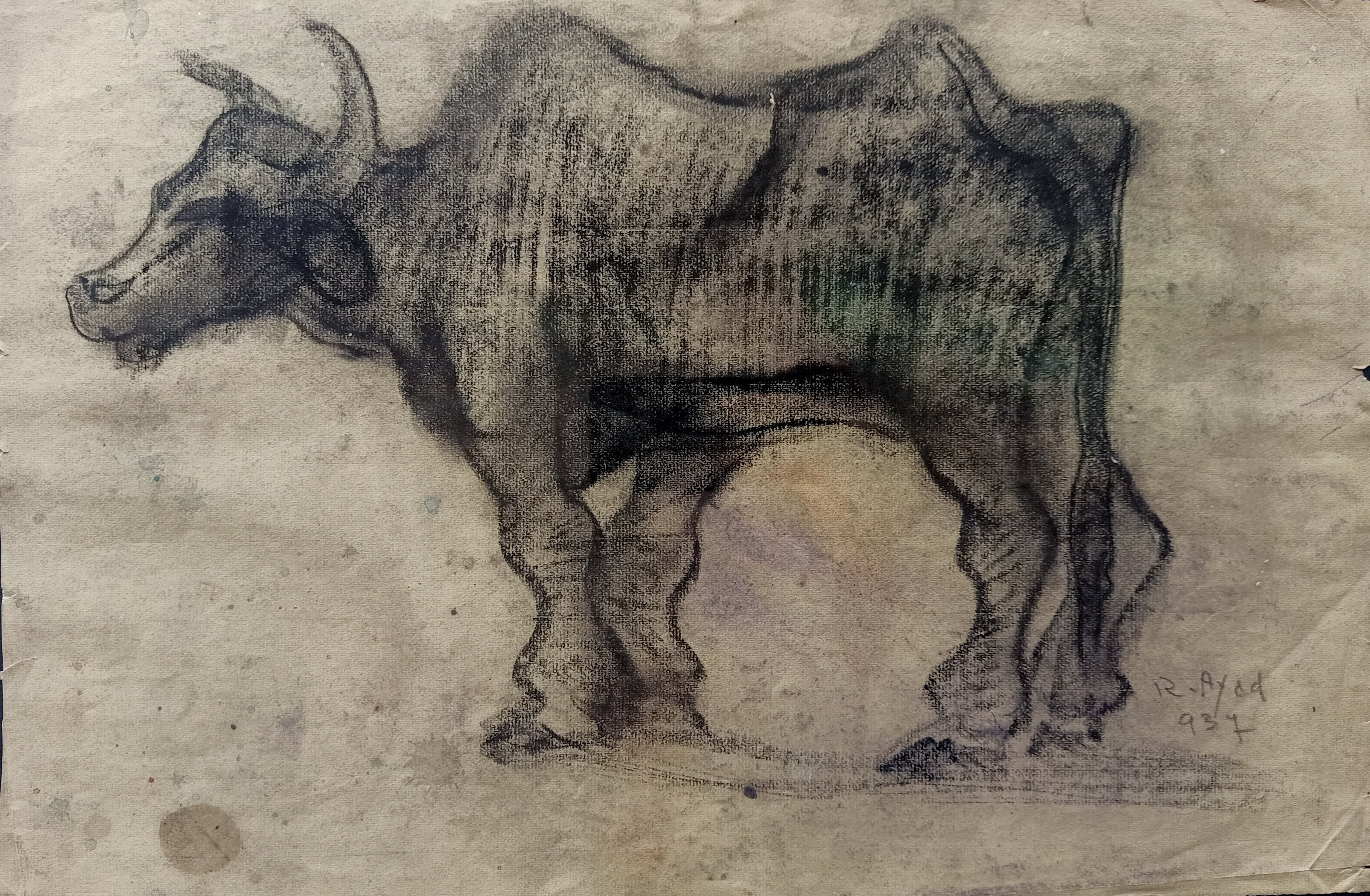 Ragheb Ayad, Bull II, 1937. Mixed media on paper 31×48 cm Signed and dated bottom right