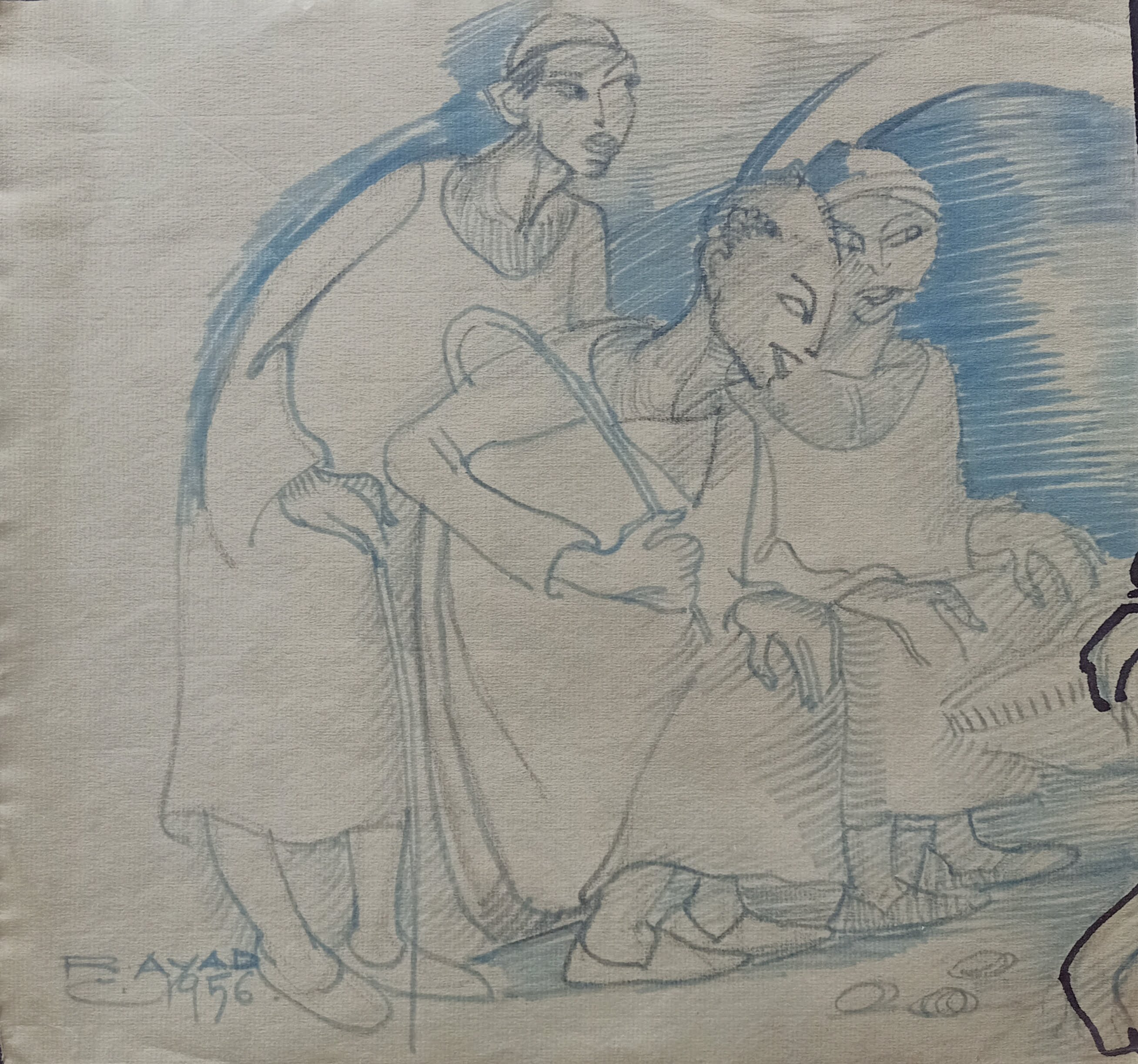 Ragheb Ayad, Three Men  1956 Mixed media on paper 30×32 cm Signed and dated bottom left.