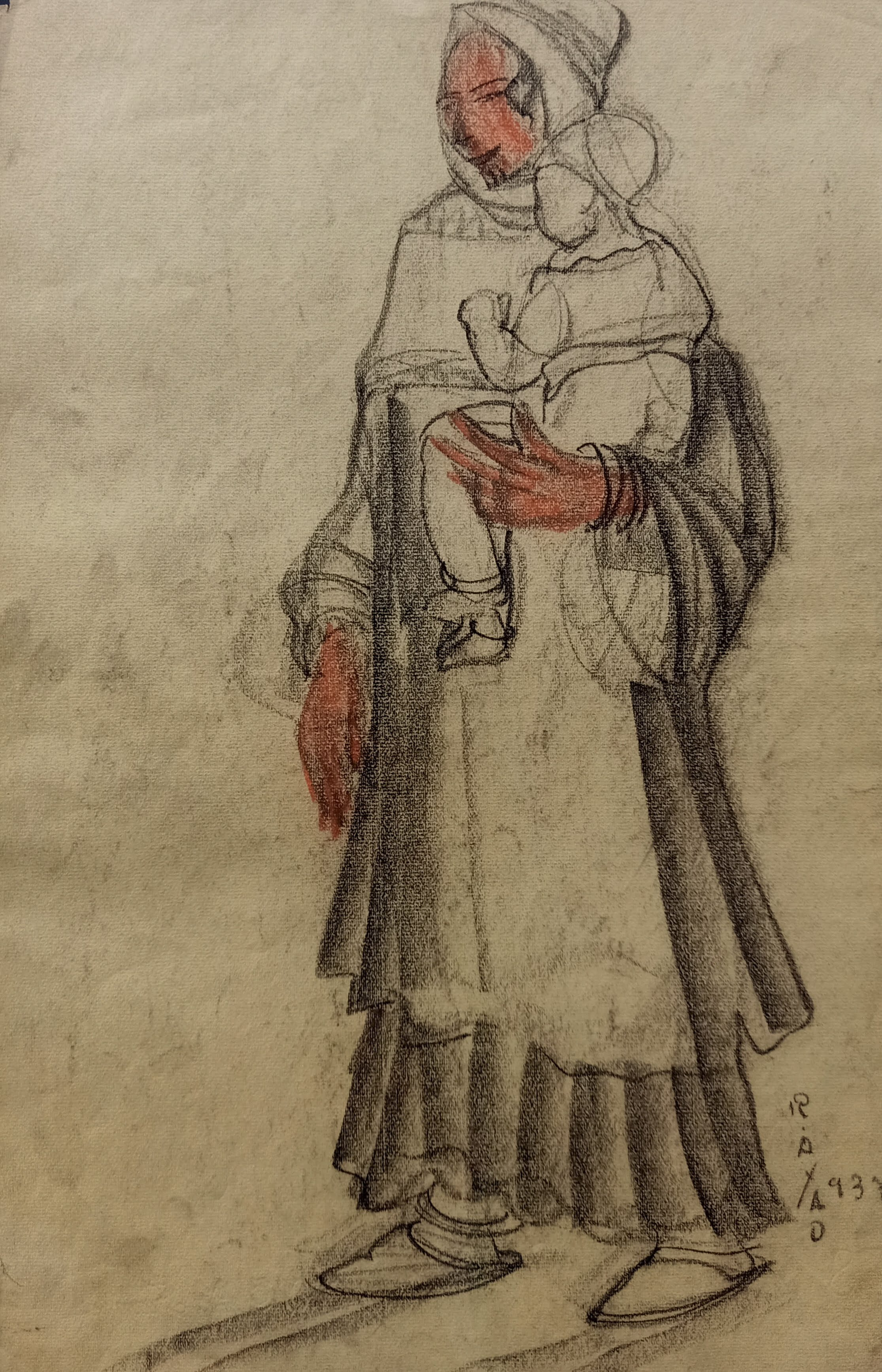 Ragheb Ayad, Mother Carrying Child, 1937. Mixed media on paper 48x31cm Signed and dated bottom right.