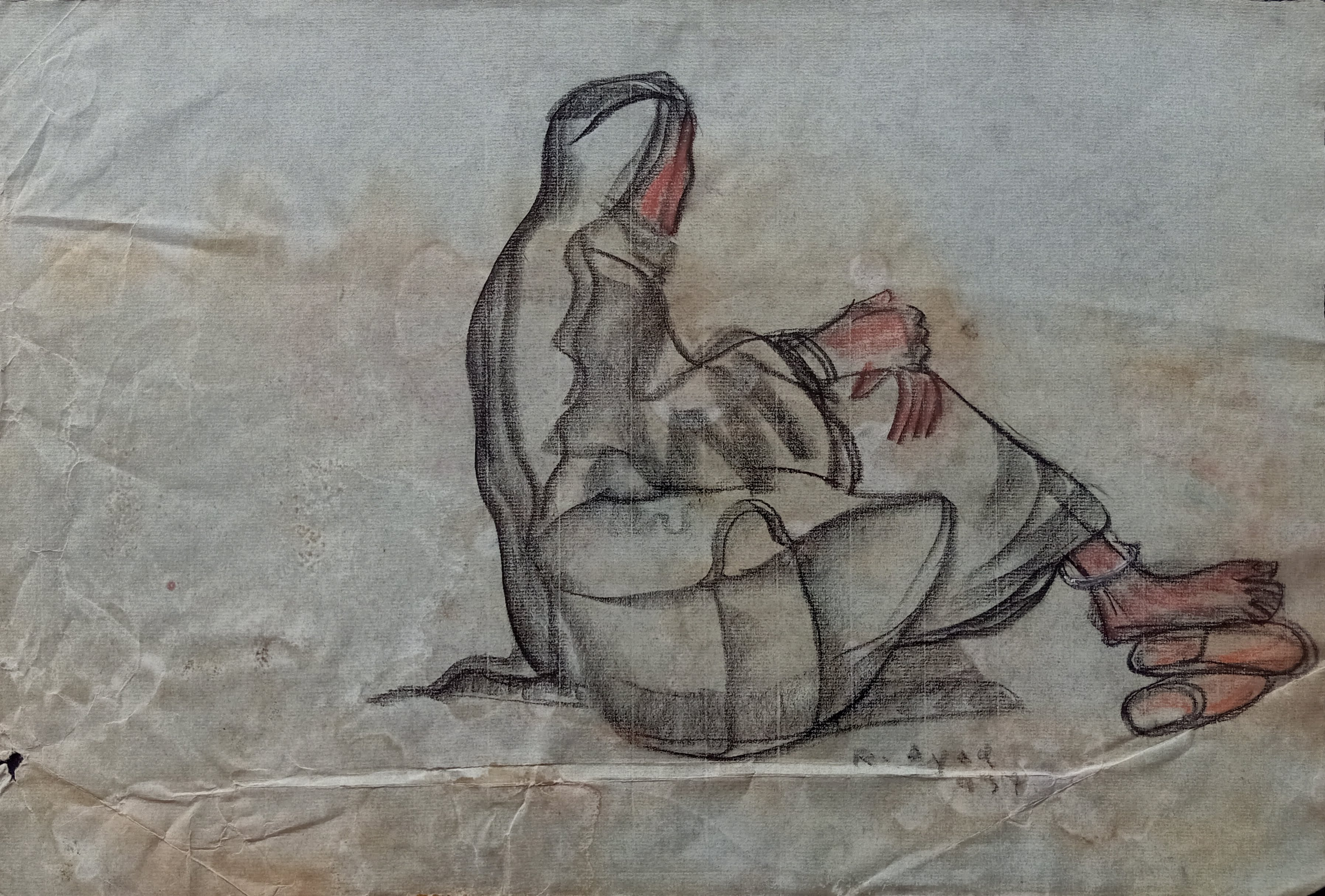 Ragheb Ayad, Seated Fellah with Uffa   1937 Mixed media on papere 32×48 cm Signed and dated bottom right.