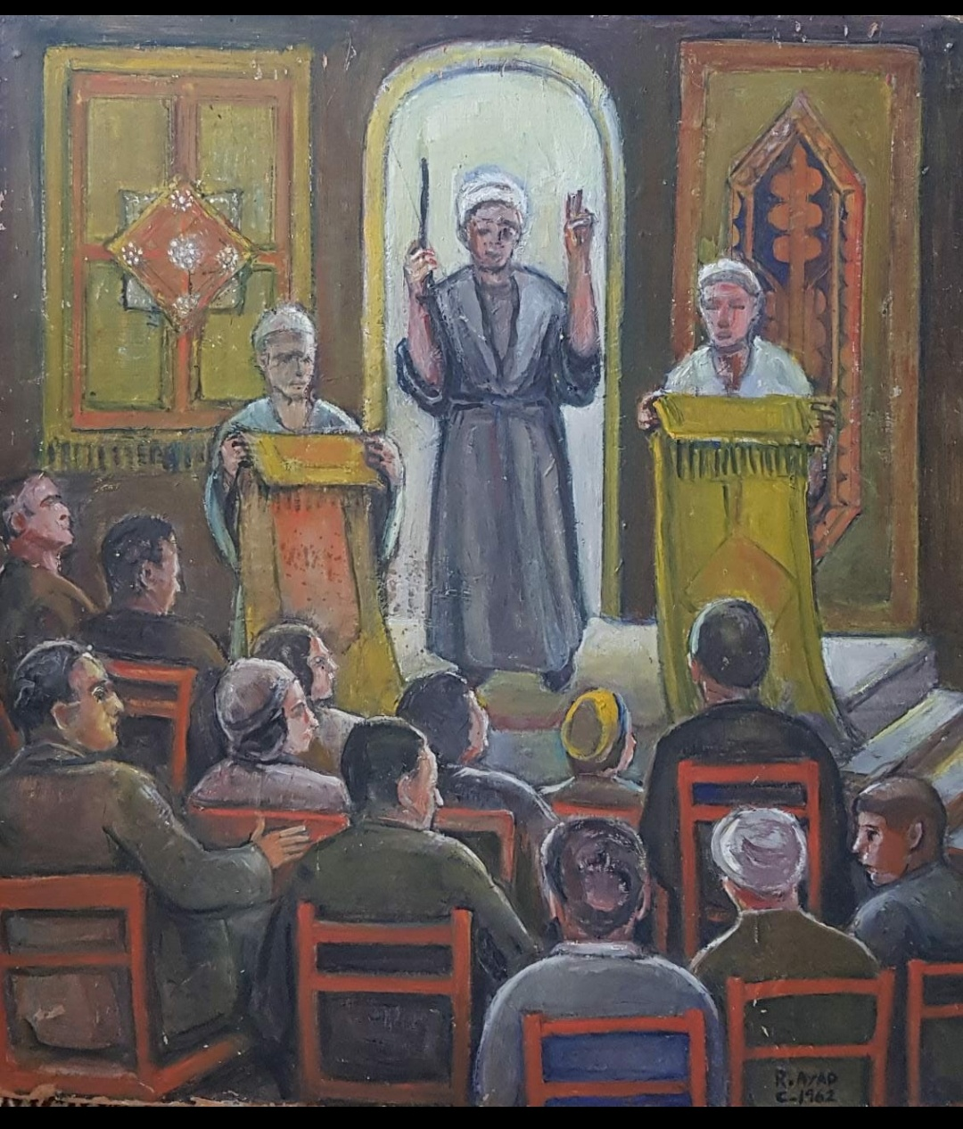 Ragheb Ayad, aL-MAZAD [The Auction] 1962 Oil on wood 61 x 55cm  Signed and dated bottom left.