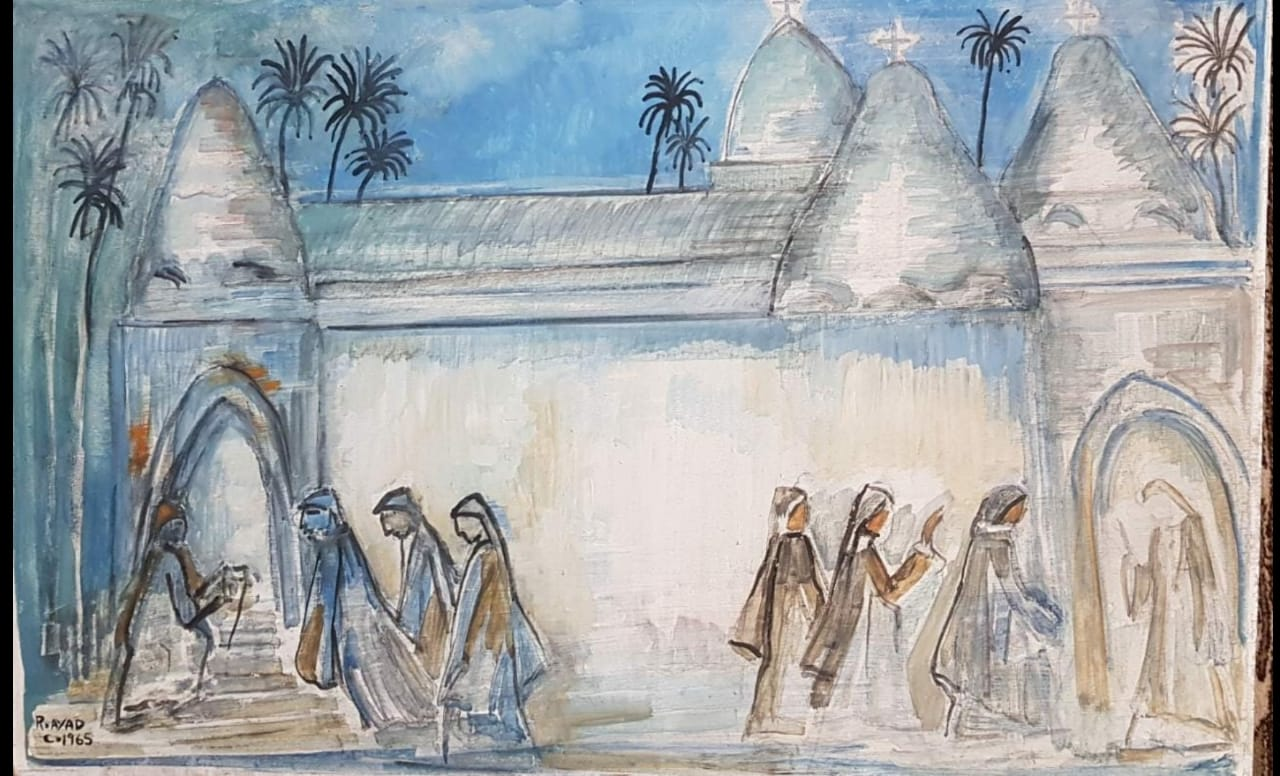 Ragheb Ayad, Le Monastere [The Monastery], 1965. Oil on wood 86 x 55cm. Signed and dated bottom left.
