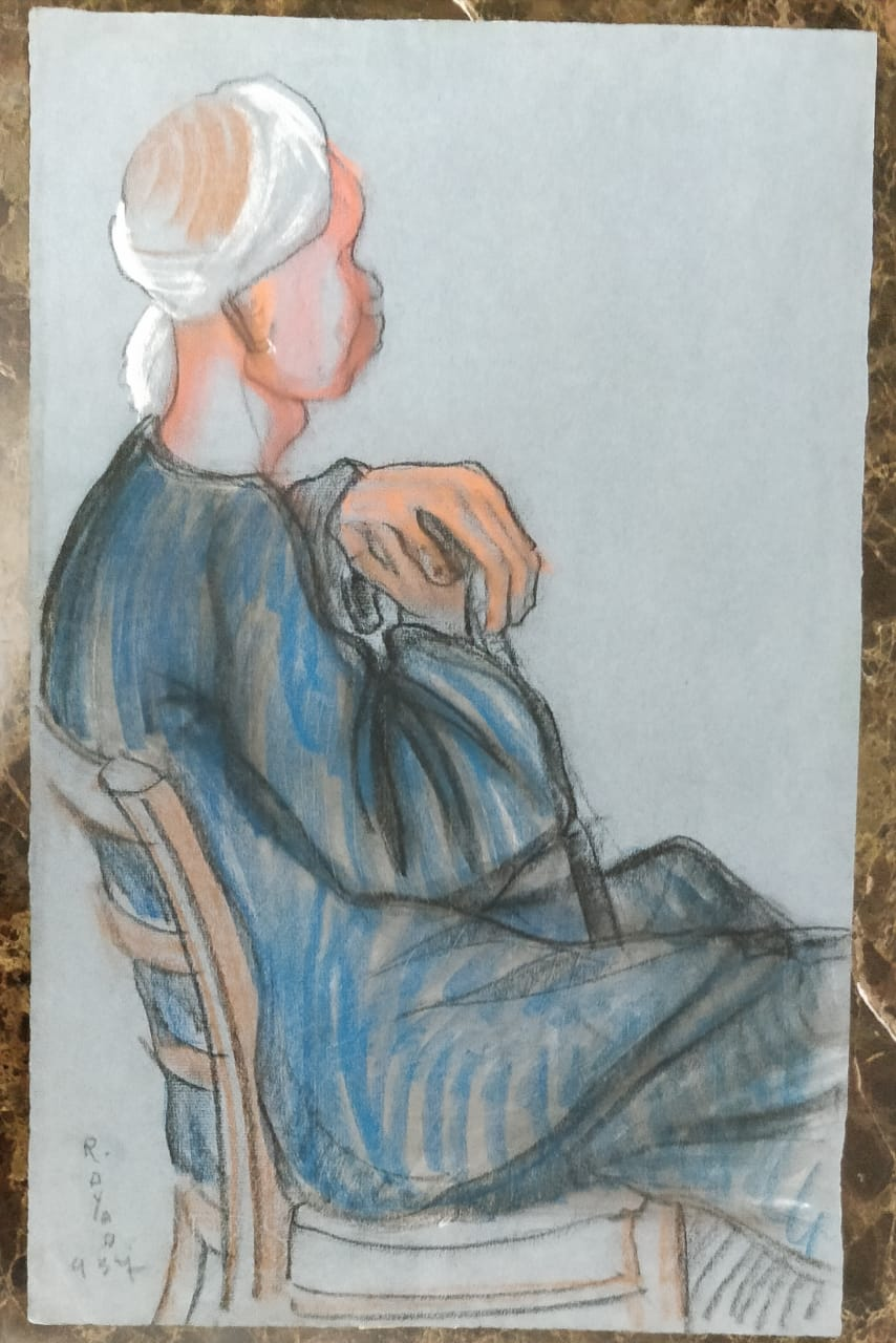Ragheb Ayad, Seated Man 1937 Mixed media on paper 48 x 31 cm Signed and dated bottom left.
