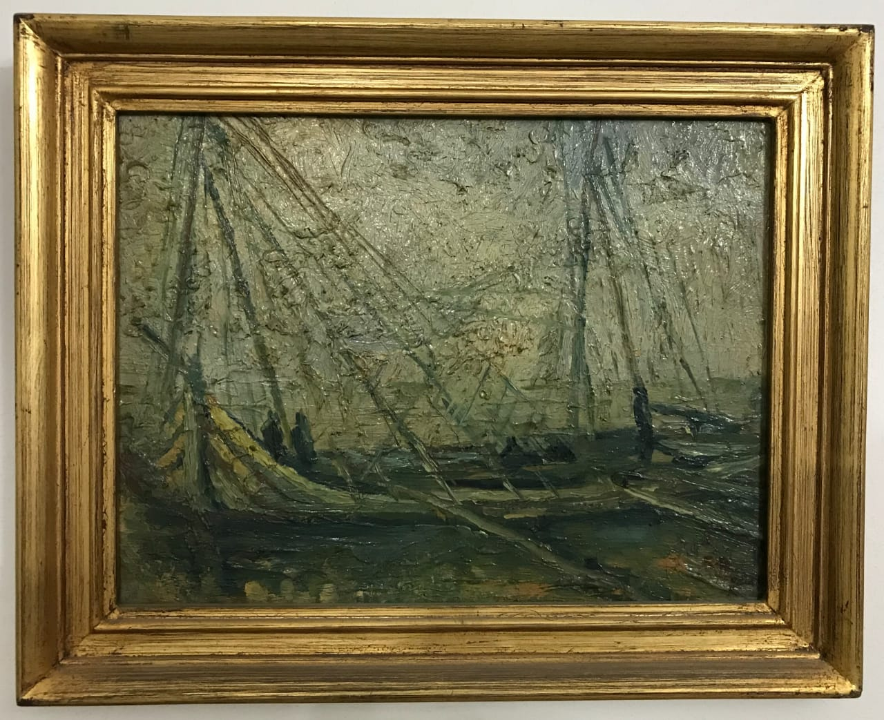 Ragheb Ayad, Les Bateaux, Oil on wood 70x65cm Signed and dated bottom left