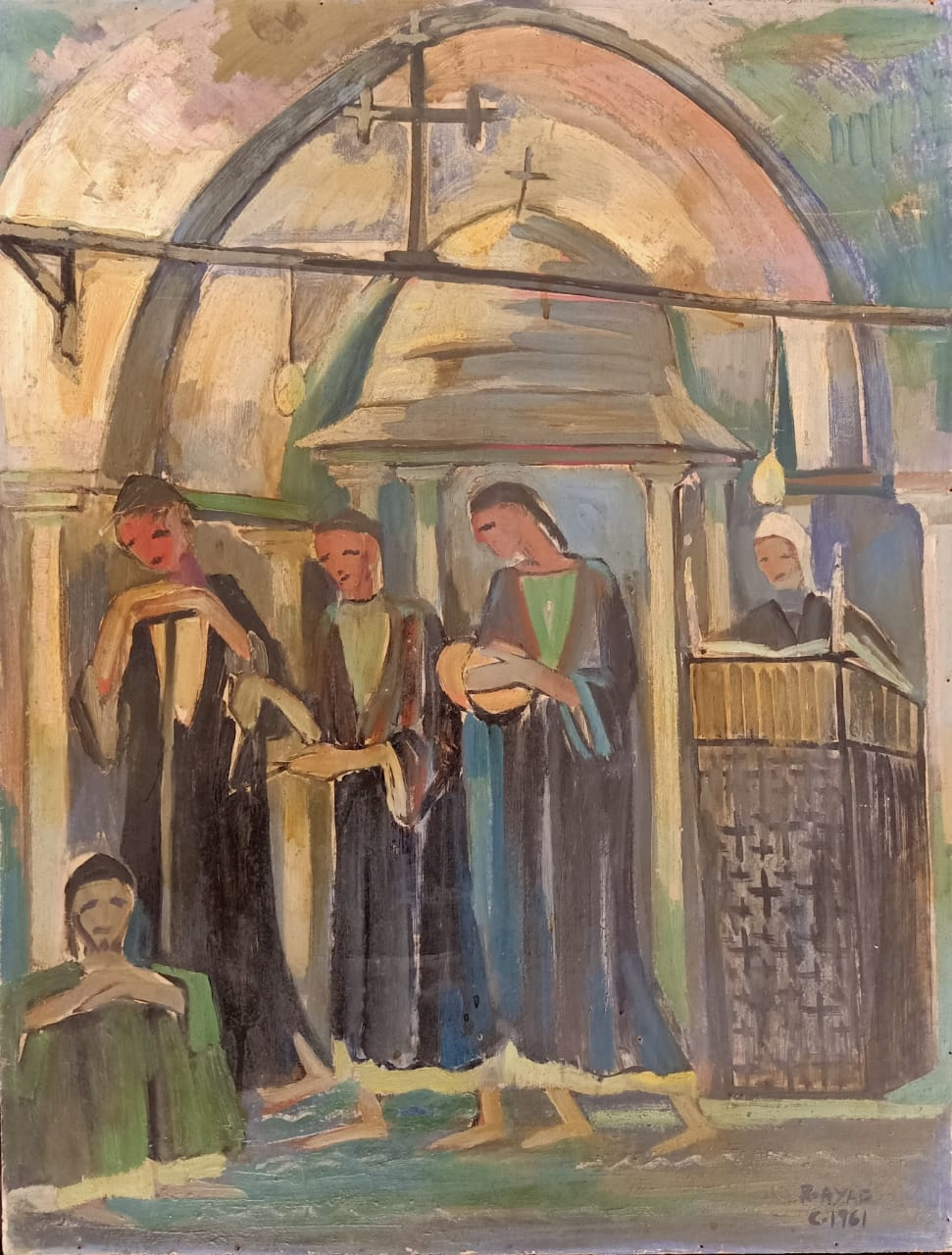 Ragheb Ayad, L'église, 1961. Oil on wood 67x51cm Signed and dated bottom right
