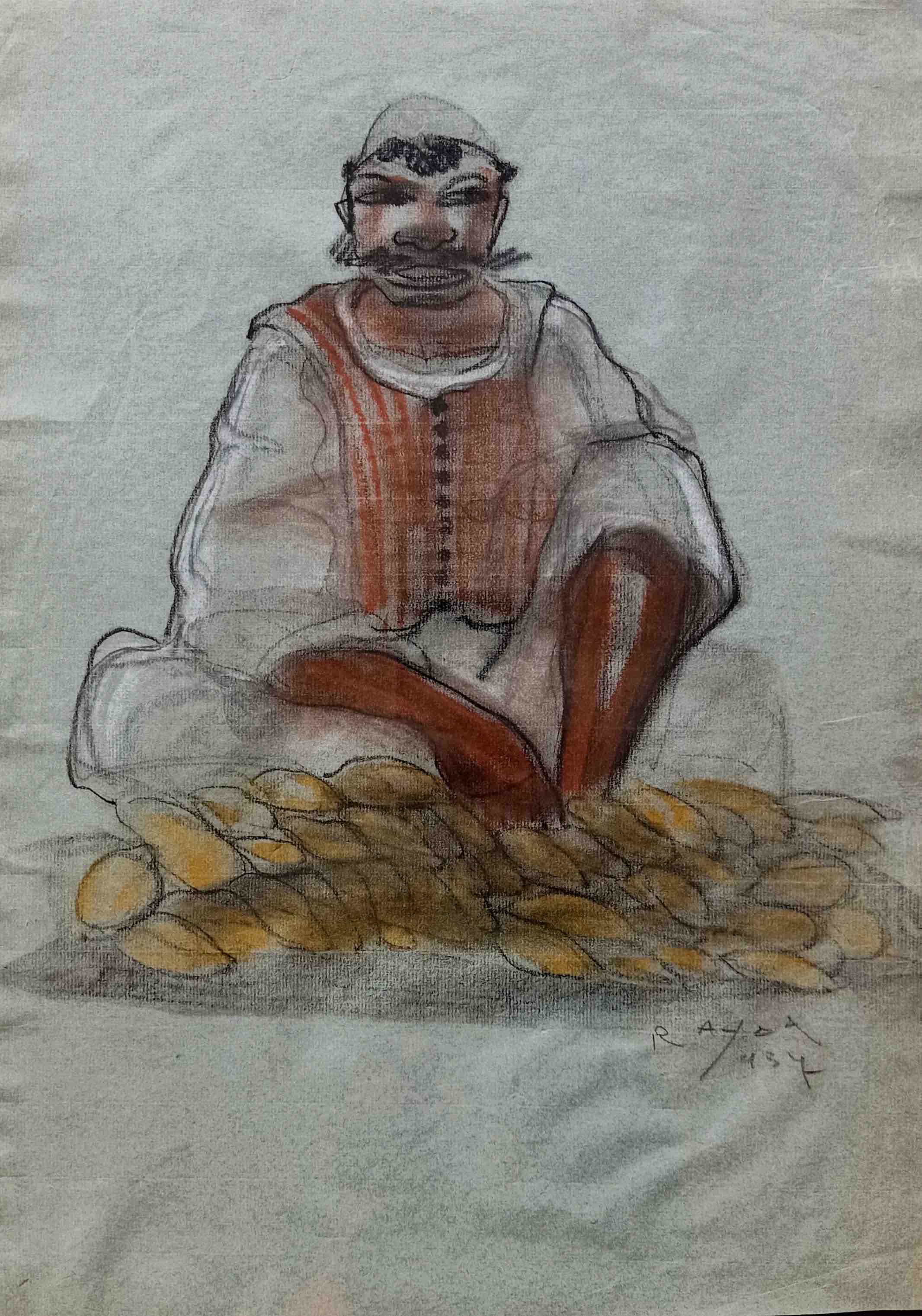Ragheb Ayad, Vendeur de pain [Seller of Bread] 1937. Mixed media on thick  paper 45×32 cm Signed and dated bottom right.