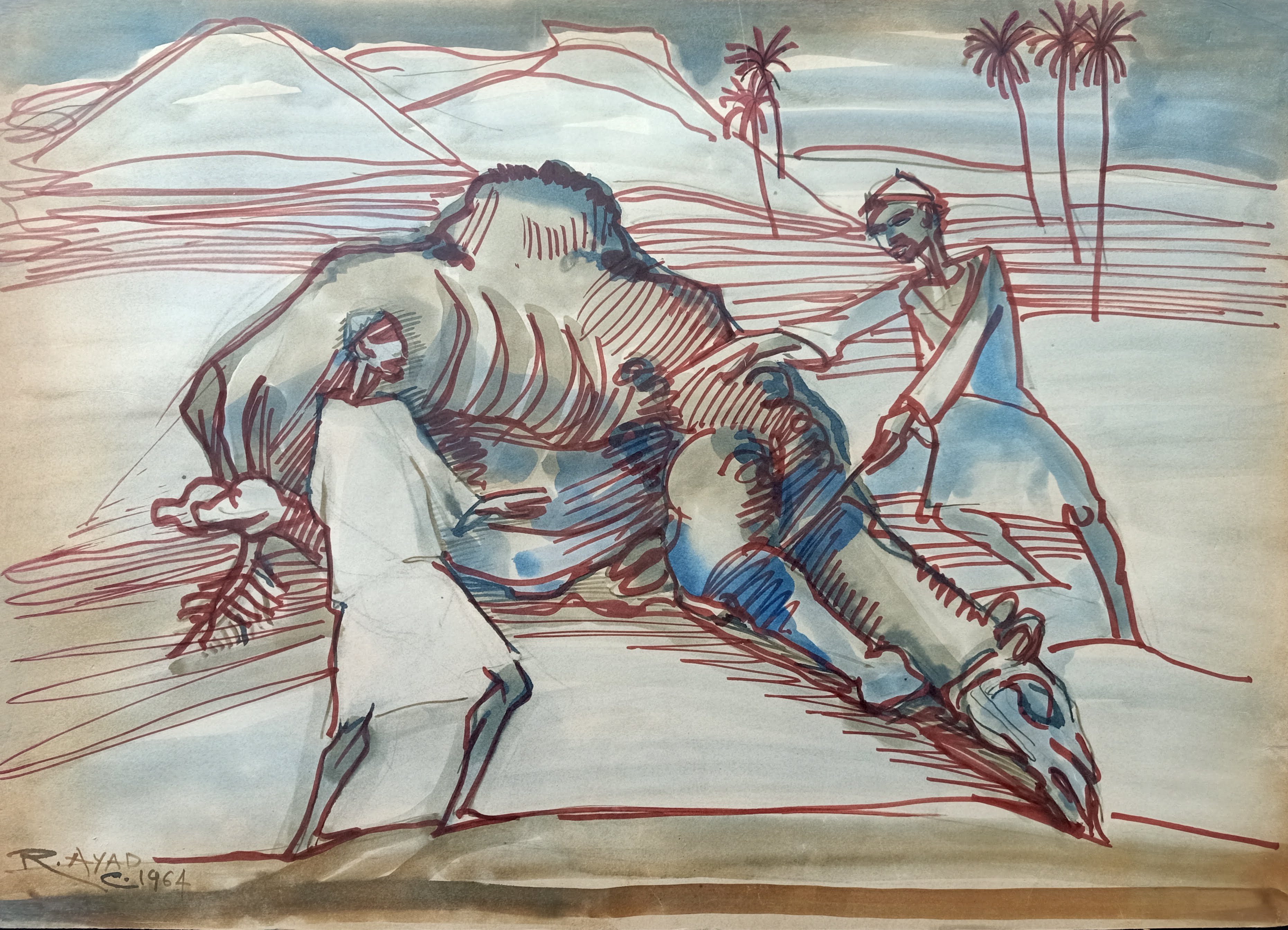 Ragheb Ayad, Camel Riders, 1964. Mixed media on paper 50×70 cm Signed and dated bottom right
