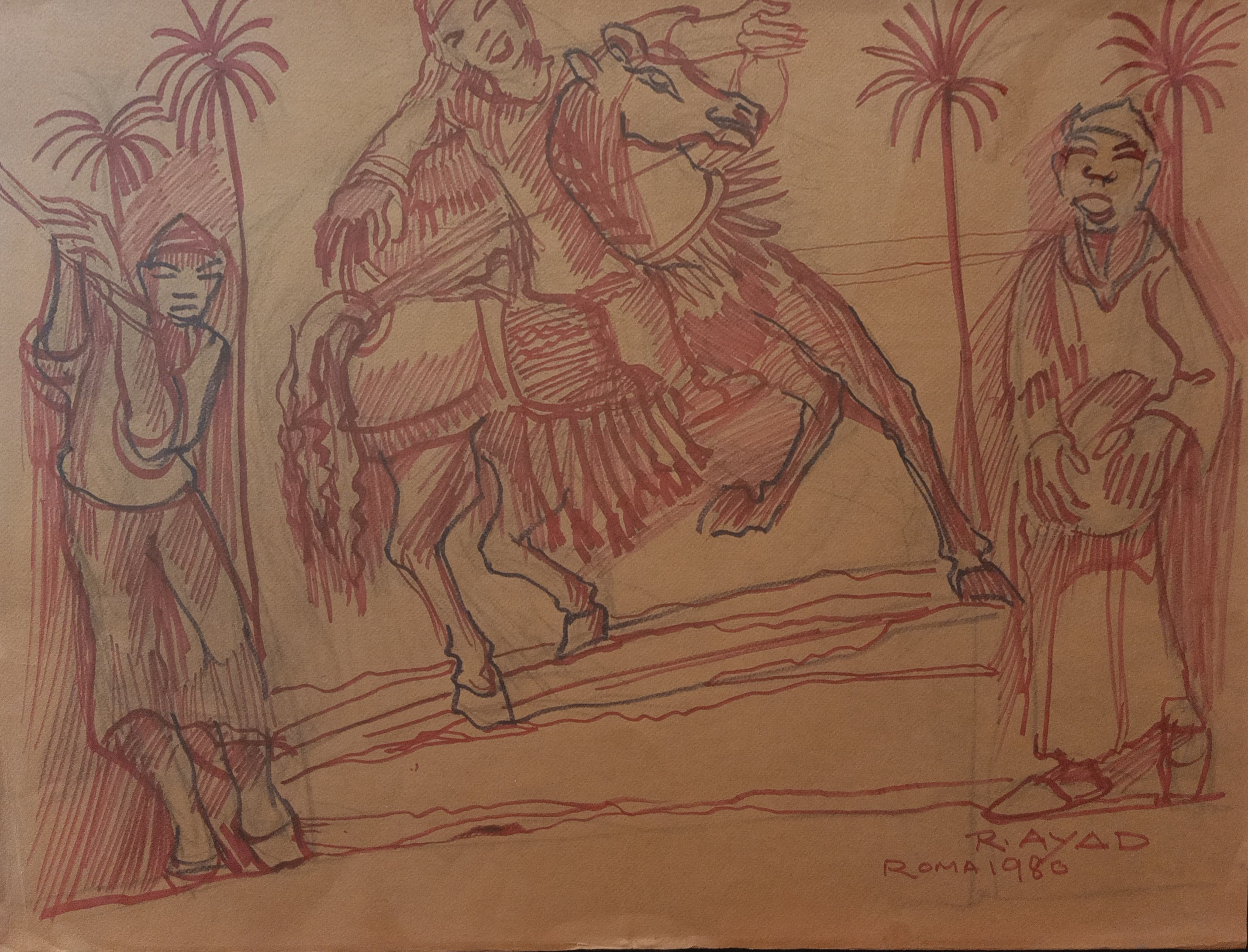 Ragheb Ayad, Danse de chevaux, 1980. Mixed media on thick paper 50×70 cm Signed and dated bottom right.