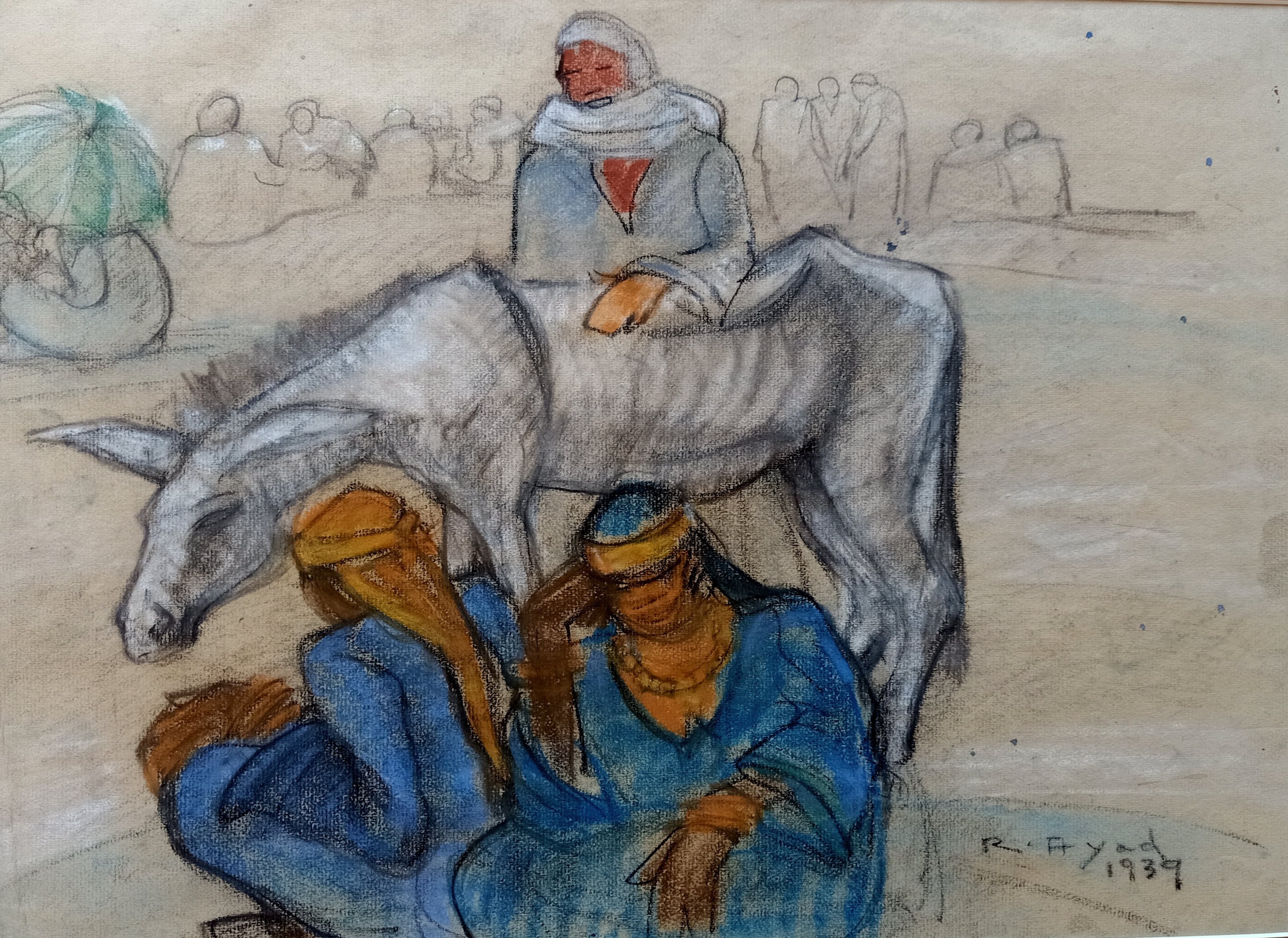 Ragheb Ayad, Bedouin Life, 1939. 30 x 40 cm Mixed media on paper Signed and dated bottom right